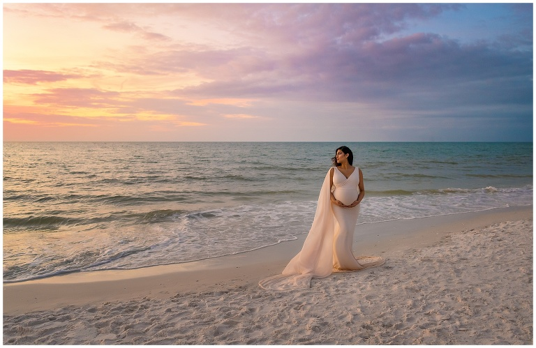Maternity photograph on beach tampa clearwater